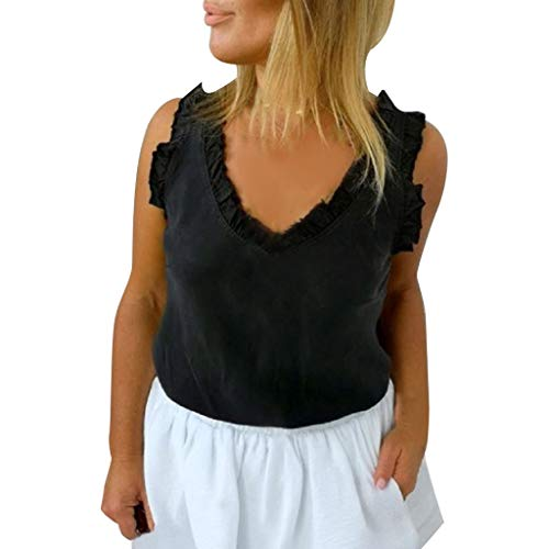 - LUXISDE Womens Tops Womens Tops Short Sleeve Women Fashion Sleeveless Lace Up Blouse Casual Summer Shirt Vest Tops(Black,L)