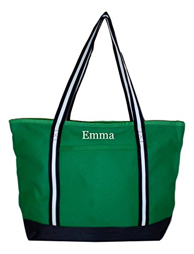 Cotton Canvas Zipper Top Tote Shopper Bag - Custom Available (Green With Navy White Straps - Embroidered Name) (Custom Beach Bags)