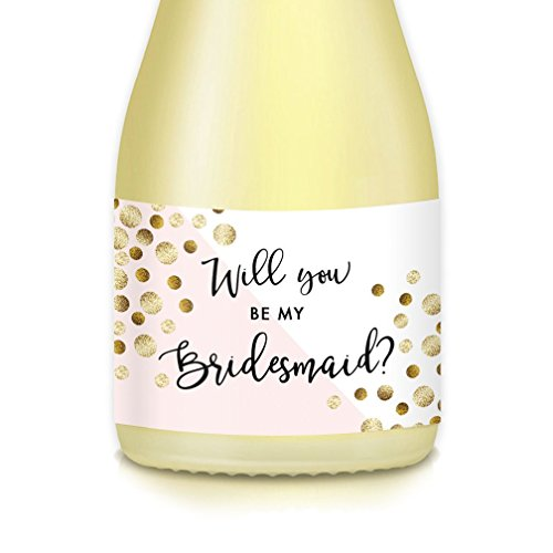 Bride Wedding Proposal Mini Champagne Bottle Labels Bachelorette, Engagement Party, Will You Be My? Bridesmaid Maid Matron of Honor 3.5