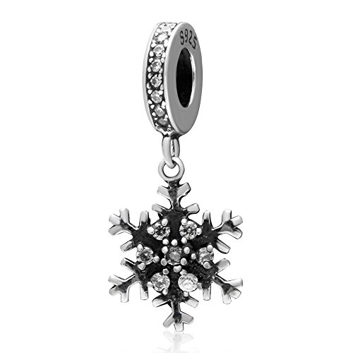 925 Solid Sterling Silver Dangling Clear Crystal Snowflake Charm Bead Fit European Style Bracelet