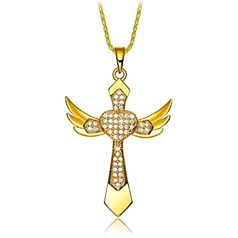 NEEMODA Yellow Gold Plated Angel Wings Cross Pendant Necklace Cubic Zirconia Religious Fashion Womens Jewelry Birthday Anniversary Christmas Valentines Day Gifts for - Cubic Zirconia Cross Charm