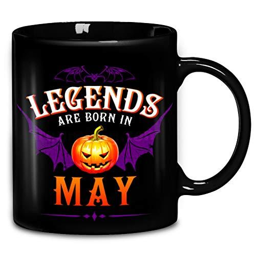 Halloween Pumpkin Bat Legends Are Born In May Coffee Mug 11oz & 15oz Ceramic Tea Cups -