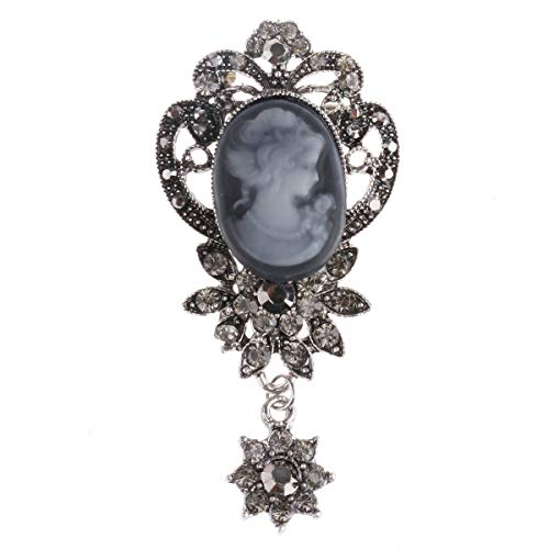 CHICTRY Vintage Rhinestone Victorian Lady Maiden Cameo Brooches Pin for Wedding Party Breastpin Pendant Jewelry Gift Silver One Size