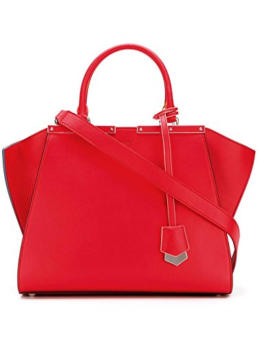 Bag Red Fendi (Fendi women's leather handbag shopping bag purse 3jours red)