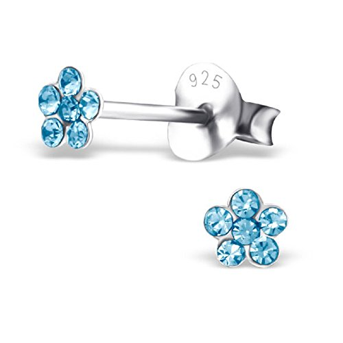 Aqua Blue Crystal Flower (925 Sterling Silver Hypoallergenic Aqua Blue Crystal Flower Stud Earrings for Girls 23041)