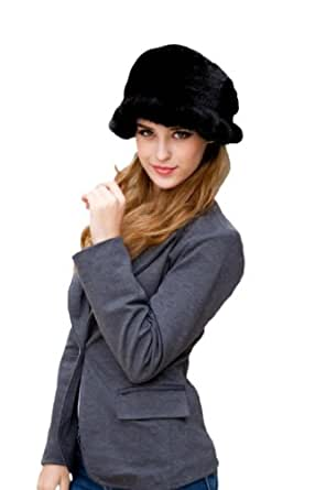 Queenshiny Women's 100% Real Genuine Mink Fur Knitted Hat with Flower-Black