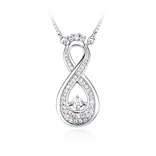 Infinity Necklace CZ Rhodium Plating Fashion Jewelry, 18