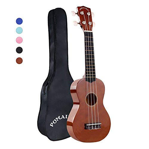 POMAIKAI Soprano Wood Ukulele Rainbow Starter Uke Hawaii kids Guitar 21 Inch with Gig Bag for kids Students and Beginners (Brown) for $<!--$29.99-->