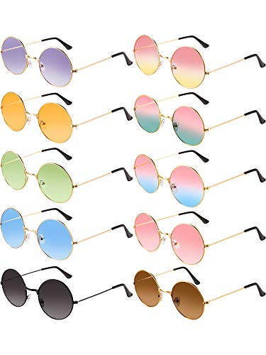 Clothes Mod 60s - Blulu 10 Pairs Round Hippie Sunglasses John 60's Style Circle Colored Glasses (Gold Frame 2)