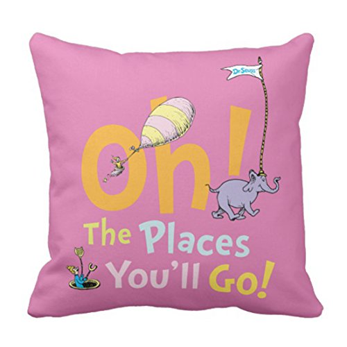Emvency Throw Pillow Cover Youll Dr Seuss Oh The Places You Ll Go Graduation Decorative Pillow Case Home Decor Square 20 x 20 Inch Pillowcase -