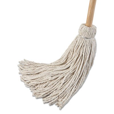 Boardwalk 124C Deck Mop; 54'' Wooden Handle 24oz Cotton Fiber Head 6/Pack by Boardwalk