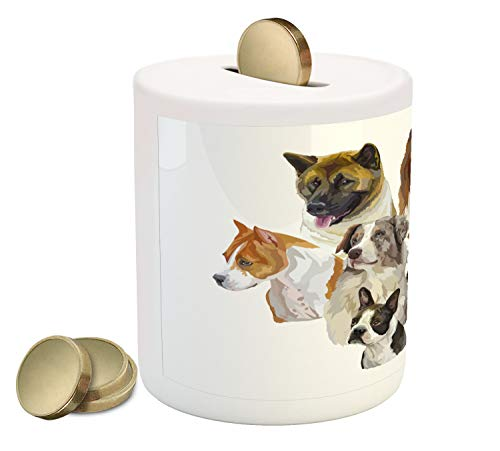 Ambesonne Dog Lover Piggy Bank, Portraits of Pekingese Pitbull Basenji Australian Shepherd Dane, Printed Ceramic Coin Bank Money Box for Cash Saving, Multicolor (Pit Bull Piggy Bank)