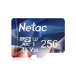 Netac 256GB Micro SD Card, microSDXC UHS-I Memory Card - 100MB/s, 667X, U3, Class10, Full HD Video V30, A1, FAT32, High Speed Flash TF Card P500 for Smartphone/Bluetooth Speaker/Tablet/PC/Camera