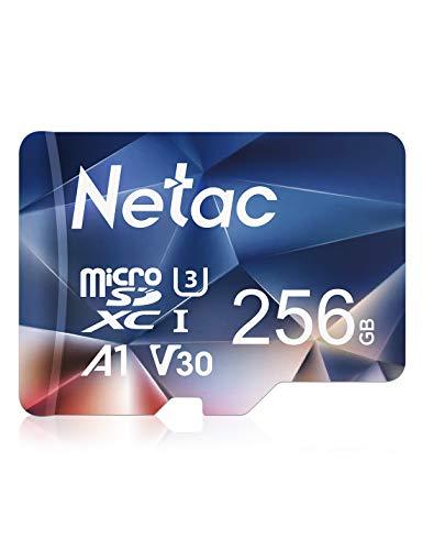 Netac 256GB Micro SD Card, microSDXC UHS-I Memory Card - 100MB/s, 667X, U3, Class10, Full HD Video V30, A1, FAT32, High Speed Flash TF Card P500 for Smartphone/Bluetooth Speaker/Tablet/PC/Camera