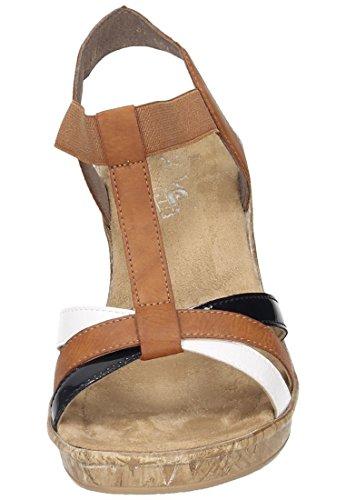 Rieker Kvinnor-sandalette Brun 910.819-2 Bianco / Cayenne / Marinblå
