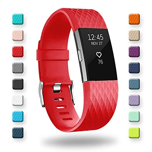 POY Replacement Bands Compatible for Fitbit Charge 2, Special Edition Adjustable Sport Wristbands, Large Red