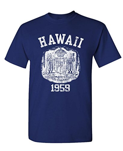 - Hawaii State Seal - Retro Vintage Style - Mens Cotton T-Shirt, L, Navy