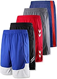 Liberty Imports 5-Pack Big Boys Youth Quick Dry Athletic Performance Basketball Shorts with Pockets