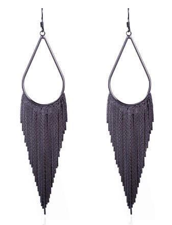 Women Fashion Bohemia Long Chain Linear Tassel Drop Dangle Earring, Black - Black Dangle Earrings