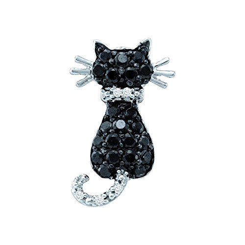 14kt White Gold Womens Round Black Colored Diamond Animal Kitty Cat Feline (14kt Gold Cat Ring)