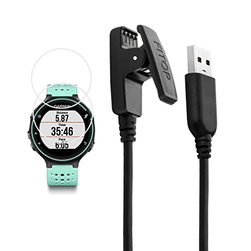 X1 for Garmin Forerunner 235 Charger 230 630 Charging Clip Sync Data Cable + 2Pcs Free HD Tempered Glass Screen Protector Replacement Charger for Garmin Forerunner 235 Smart Watch