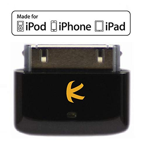 KOKKIA i10s (Black) Tiny Bluetooth iPod Transmitter for iPod/iPhone/iPad with Authentication. Remote controls and local iPod/iPhone/iPad volume control capabilities. Plug and Play. Works with AirPods.