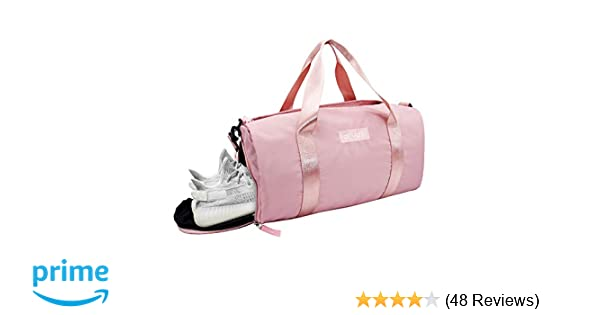 6ff267d3d208 Amazon.com  Ativafit Women Gym Bag with Shoes Compartment Sports Swim Travel  Overnight Duffels Pink  Elphabas