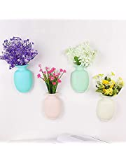 BHSHUXI Removable Silicone Flower Vase,4pcs Silicone Refrigerator Paste Flower Pot Sticky Vase,Samll Removable Self-Adhesive Wall Mount Vase for Home Office Decoration