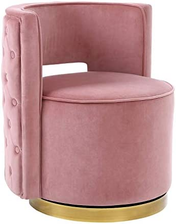 HOMEFUN Swivel Vanity Chair, Modern Makeup Barrel Chair Stool for Bedroom Living Room with Gold Base, Pink