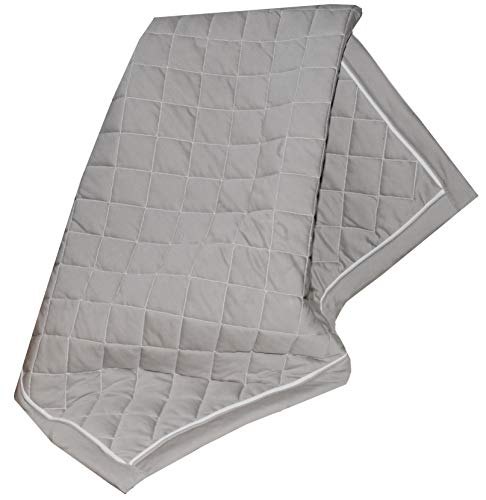 (Fuzzies Quilted Thermal Baby Blanket for Boys & Girls | Doubled-Sided, Gray and White| Buttery Soft, Breathable Cotton Infant/Toddler Quilt Throw Blanket | Warm, Peaceful Sleeping in Crib – 36 x 36