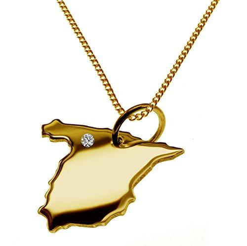 Endroit Exclusif Espagne Carte Pendentif avec brillant à votre Désir (Position au choix.)-avec Chaîne-massif Or jaune de 585or, artisanat Allemande-585de bijoux