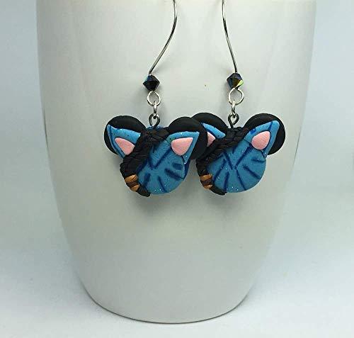 Earrings Disney Dangle (Disney Inspired Alien Avatar Mickey Head GLOW IN THE DARK Pandora silver plated dangle earring)