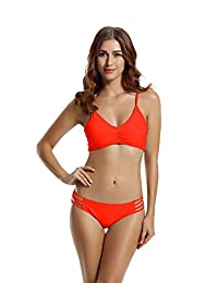 Zeraca Women's Strap Side Bottom Halter Racerback Bikini Bathing Suits