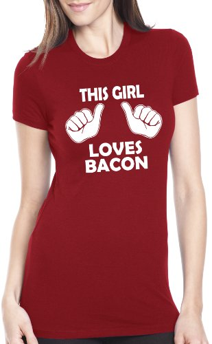 Crazy Dog TShirts - Womens This Girl Loves Bacon TShirt Funny Breakfast Brunch Food Tee For Ladies - Camiseta Para Mujer