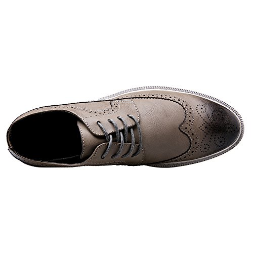 Lace Wingtip Casual Oxford Dress Sneaker Grey Leather Shoes Mens Fashion YANXU 5qX7w0x1Yn