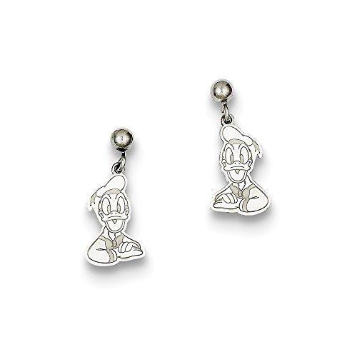 Duck Dangle Post (Solid 925 Sterling Silver Disney Donald Duck Dangle Post Earrings (7mm x 17mm))