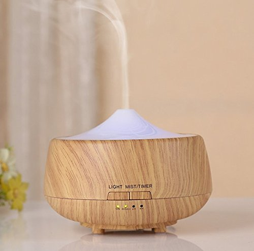 Mermaid 250ML Ultrasonic Essential Oil Diffuser - Aromatherapy Cool Mist Humidifier with 6 Color LED Lights, Adjustable Mist Timer Settings for Spa Baby Home Wood Grain (LIGHT BROWN)