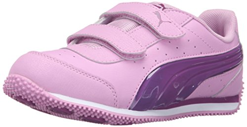 PUMA Kids Speed Light Up V PS Sneaker (Little Kid/Big Kid), Pastel Lavender/Hollyhock, 1.5 M US Little (Lavender Leather Footwear)