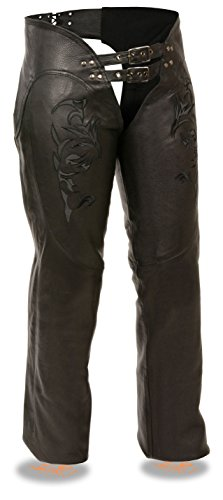 Milwaukee Leather Ladies Leather Chap w/ Reflective Tribal Embroidery (Black, L) by Milwaukee Leather