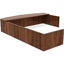 """Lorell LLR34399 Reception Desk-EA Reception Counter, 82-3/4""""x66""""x14-3/4"""", Walnut"""