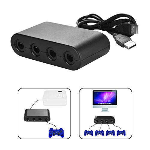 for Nintendo Wii U Controller Adapter,Gamecube NGC Controller Adapter for Wii U, Switch and PC USB.Easy to Plug and No Driver Need.4 Port Black Gamecube Adapter Ship from America (Black)