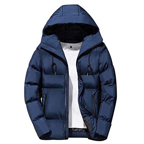 QBQCBB Men's Winter Leisure Coat Zipper Hoodie Down Jackets Stand Collar Outwear(Blue,XXXL) from QBQCBB
