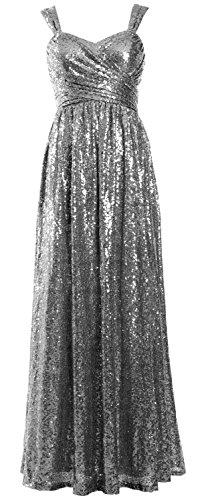Femmes Macloth Élégante Fête De Mariage Robe De Demoiselle D'honneur À Long Sequins Gris Robe Formelle