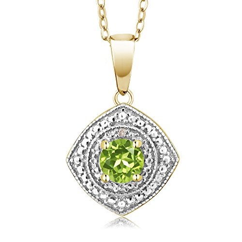 Gem Stone King 0.50 Ct Green Peridot & Accent Diamond 18K Yellow Gold Plated Silver Pendant with Chain