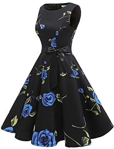 Abito Gardenwed Da Annata Rose Partito Vestito Rockabilly Blue Polka 1950 Audery Swing Maniche Cocktail Retrò Senza nPSRrgPY