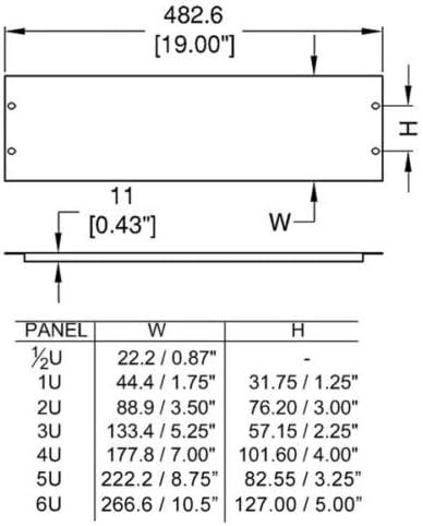 Penn Elcom R1268//05UK 1//2U FLANGED BLANK RACK PANEL Black STEEL