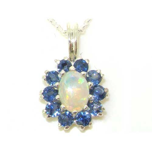 Ladies Solid 925 Sterling Silver Ornate Natural Opal & Blue Sapphire Oval Pendant Necklace (Blue Sapphire Estate Necklace)