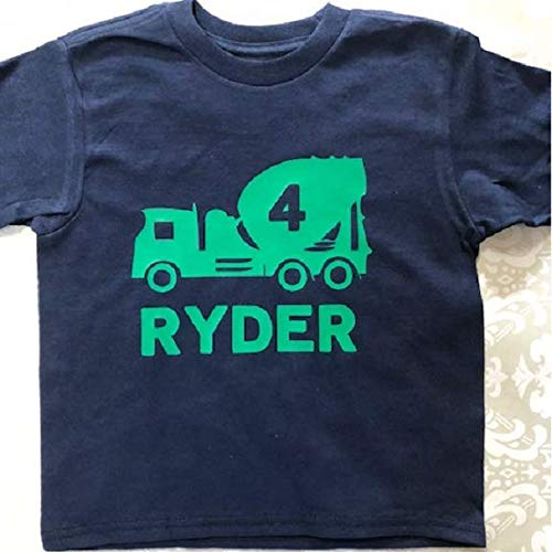- personalized cement truck toddler shirt with name boys concrete mixer tshirt
