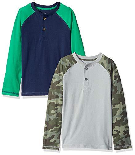 - Amazon Brand - Spotted Zebra Boys' Big Kid 2-Pack Long-Sleeve Henley Shirts, Camo, Large (10)