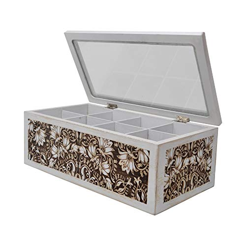 gbHome GH-6746 Decorative Home Decor Wood Tea Box, 10.75 x 5.75 x 4, Eight Compartments, Rustic, Antique Distressed Wood Organizer for Sewing Supplies, Jewelry, Beads, Hair Accessories and More!
